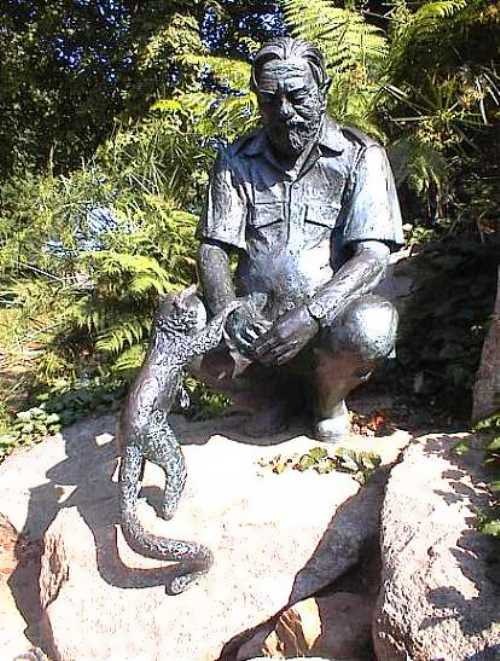 Statue of Gerald Durrell at Jersey Zoo, Jersey, UK sculpted by John Doubleday