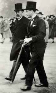 The Prince of Wales during his morning walk with his father, King George V. 1932