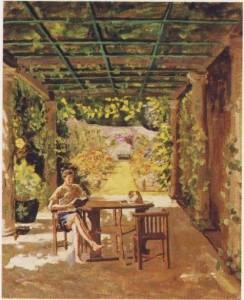 Randolph Churchill (Churchill's only son) is reading