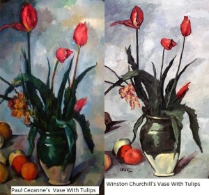 Vase With Tulips by Paul Cezanne and by Churchill