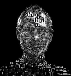 Mosaic portrait of Steve made out of black and white Apple products