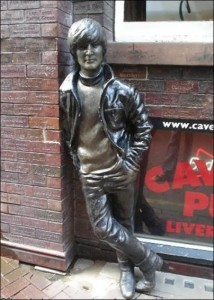 The monument to Lennon in Liverpool at the entrance to the Cavern Club