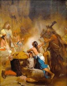 Alonzo Chappel. Pocahontas is saving John Smith