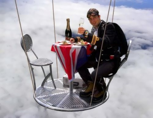 Grylls and his highest open-air dinner party