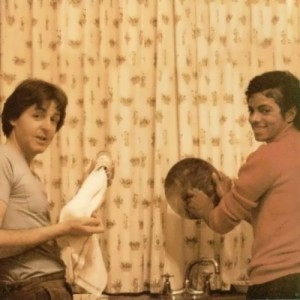 Jackson and Paul McCartney are doing the washing up