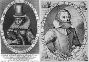 Engraving by Simon de Pass in 1616 - the only known lifetime portrait of Pocahontas and John Smith's portrait