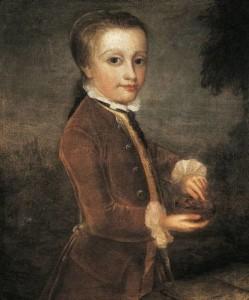 Johann Zoffany. Portrait of Mozart with a nightingale nest