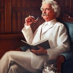 Mark Twain with a cat