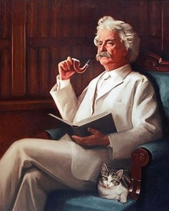 Mark Twain with a cat