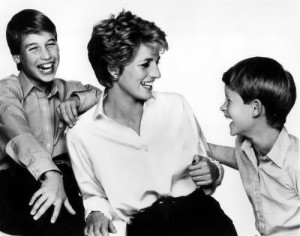 Diana and her sons William and Harry