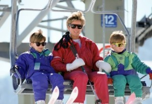 Diana while skiing in Lech, Austria, with her sons William and Harry