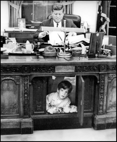 US President John F. Kennedy and his son John Jr