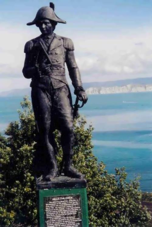 Monument to Captain Cook in New Zealand