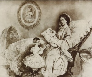 Joseph Krihuber. Empress Elisabeth, her son Rudolf and daughter Gizella. 1858