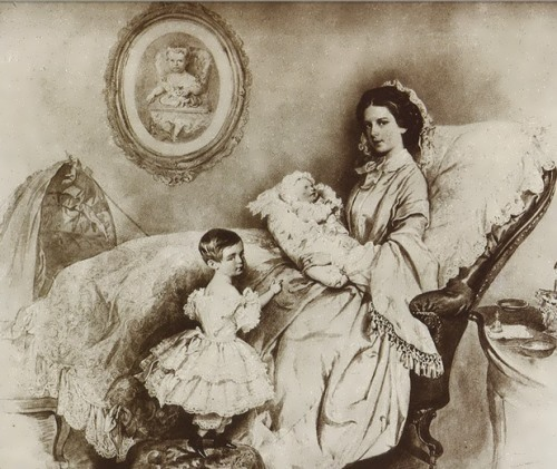 Joseph Krihuber. Empress Elisabeth, her son Rudolf and daughter Gizella. 1858