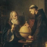 Galileo demonstrating his new astronomical theories at the university
