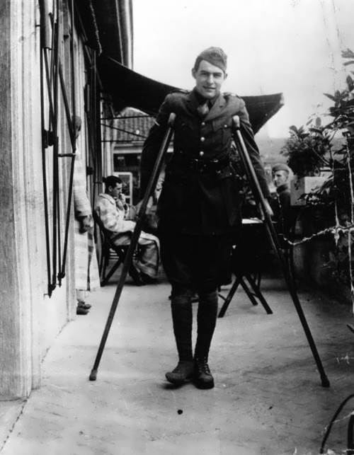 Hemingway is recovering after being wounded. Milan, Italy, September, 1918