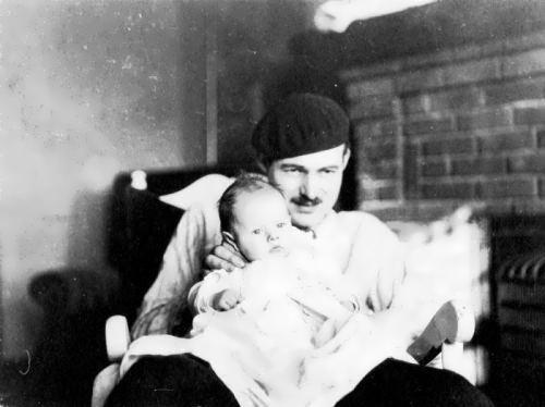 Hemingway and his son, 1924