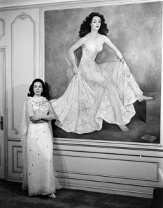 Maria Felix posing with her portrait by Diego Rivera. Photograph by Bill Ray. Mexico City, Mexico, 1964