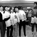Miami Beach, Florida, February 18, 1964. From left to right - Paul McCartney, John Lennon, Ringo Starr and George Harrison with Muhammad Ali. Associated Press
