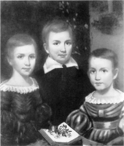 From left to right, Emily Dickinson, William Austin Dickinson, Lavinia (Vinnie) Dickinson
