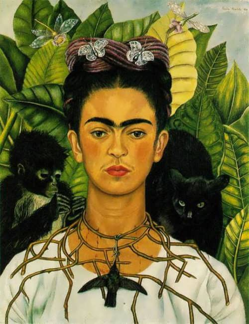 Self-portrait with a crown of thorns and hummingbirds, 1940