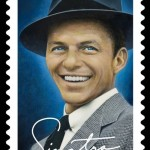 postage stamp with a portrait of Sinatra