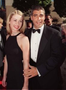 Clooney and his ex-girlfriend, French actress Celine Balitran in 1998