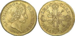 Louis XIV on the coins, 1701
