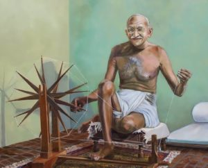 Gandhi is spinning