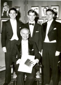 Linus Carl Pauling and his sons Peter, Crellin and Linus Jr., Stockholm. 1954