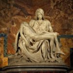 Pieta (1497–1499), consists of two figures—Jesus and Mary—carved from a single block of marble.