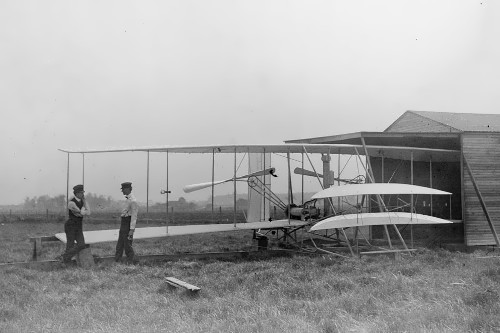Wright brothers and their second glider with an engine. Ohio. May 1904