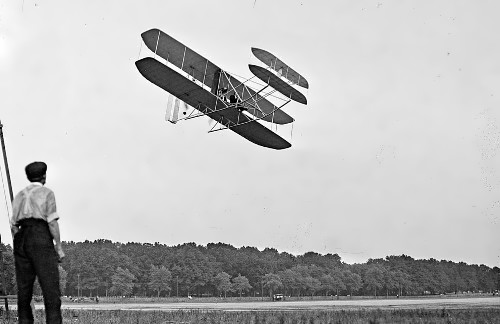 Orville Wright during a demonstration flight at Fort Myer, Virginia, in July 1909