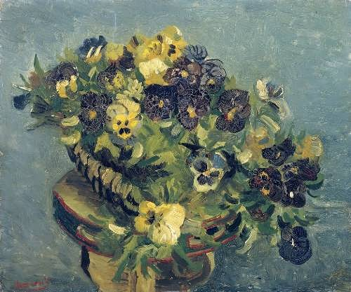 Basket of Pansies on a Table, 1886