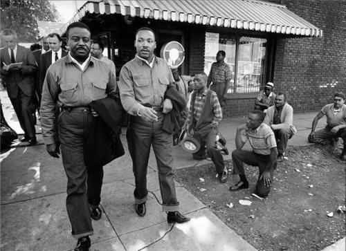 Martin Luther King Jr. and Ralph Abernathy Walk Toward Their Arrest, Birmingham, Alabama, April 16, 1963