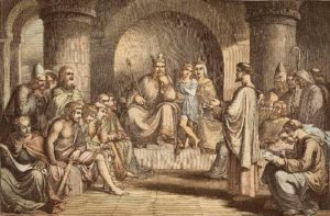 Alfred The Great Submitting His Laws. Drawing by John Bridges