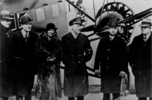 Amelia with the heads of air and railway lines at startup of Boston-Marine Airways, 1933
