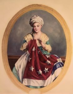 American painting. Betsy Ross Sewing American Flag