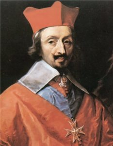 Portrait of Armand Jean du Plessis, Cardinal Richelieu by Philippe de Champaigne scanned from the book Jan Baszkewicz Richelieu, 1984
