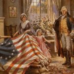 A painting shows Betsy Ross displaying the first U.S. flag to George Washington