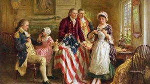 A painting shows Betsy Ross displaying the first U.S. flag to George Washington and other patriots