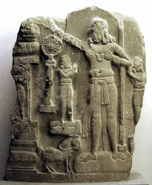 Indian relief, in the center probably Ashoka