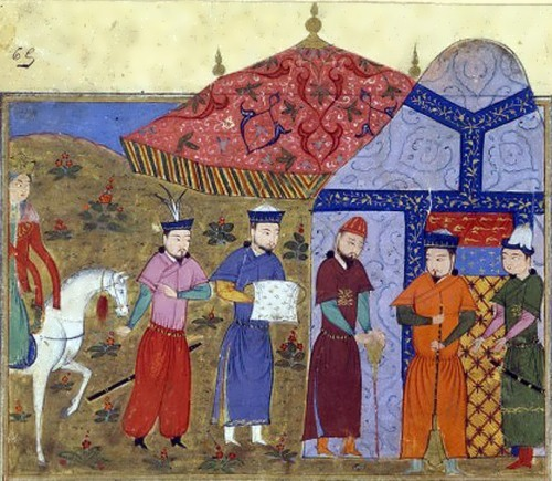 Genghis Khan and Chinese ambassadors. Miniature from the manuscript of Jami al-Tawarikh