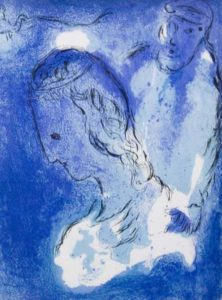 Abraham and Sarah. Lithograph by Marc Chagall, 1956