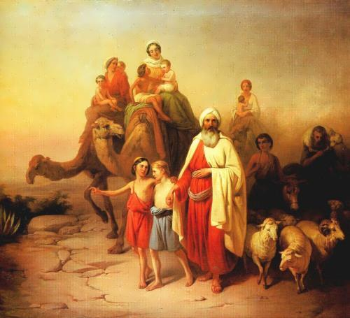 Abraham's Journey from Ur to Canaan. The painting of the Hungarian artist Molnar Jozsef, 1850