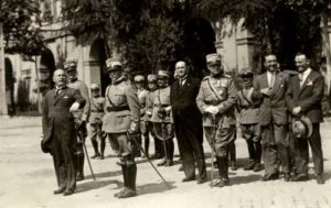 Mussolini and officers in 1926 on the square in Rome
