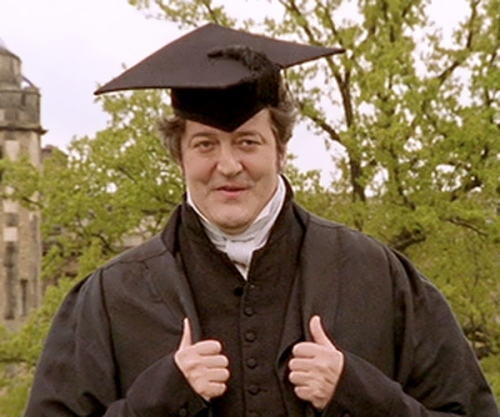 Stephen Fry in Cap and Gown