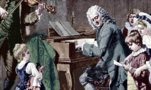 Johann Sebastian is playing the clavier