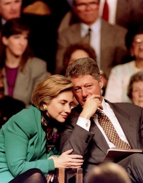 US President Clinton and First Lady Hillary Clinton in Edison, NJ, February 16, 1994